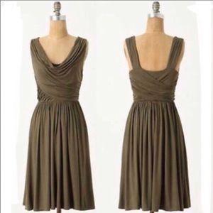 Anthro Deletta Pezza Olive Green Draped Dress XS